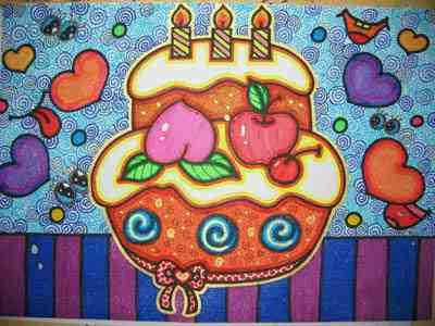 祖国70生日蛋糕简笔画_祖国70周年生日蛋糕图画